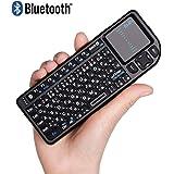 【Ewin】ミニ bluetooth キーボード Mini Bluetooth keyboard タッチパッドを搭載 バックライト付き 小型キーボード マウス 一体型 無線 USB レシーバー付き ブラック【日本語説明書付き】