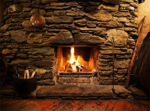 - Leowefowa Vinyl 10X8FT Fireplace Backdrop Interior Vintage Rock Stones Brick Wall Firewoods Peeled Stripes Wood Floor Interior Photography Background Kids Adults Photo Studio Props