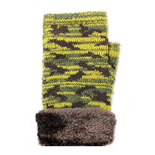 LL- Womens or Unisex Teens Winter Knit Fingerless Fashion Gloves Fleece Lined (Army Green Camo) (Camouflage Nylon Gloves)