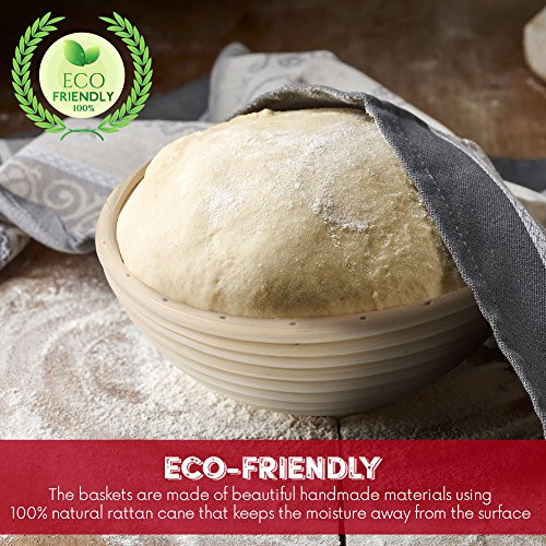 HipKopp 8.5 inch Banneton Bread Proofing Basket Set - eco-friendly Material Rattan Shape Loaf Bowl -Sourdough Kitchen Silicone Scraper Cloth Liner kit - 4 Customised Stencils for Professional Baking by HipKopp (Image #5)