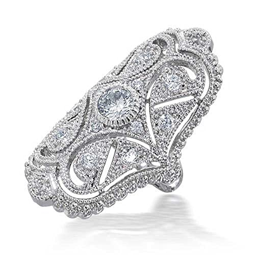 Bling Jewelry Great Gatsby Inspired CZ Vintage Style Full Finger Armor Ring