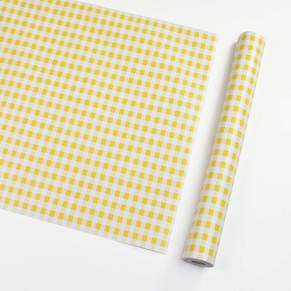 Taogift Self Adhesive Vinyl White and Yellow Geometric Plaid Contact Paper Shelf Liner Dresser Drawer Cabinets Liner Furniture Wall Paper Sticker Removable (17.7x117 Inches)