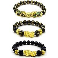 Feng Shui Black Obsidian Wealth Bracelet, 3 Pcs Good Luck Pi Xiu Bracelets for Women Men Attract Health Wealth Money Feng Shui Jewelry