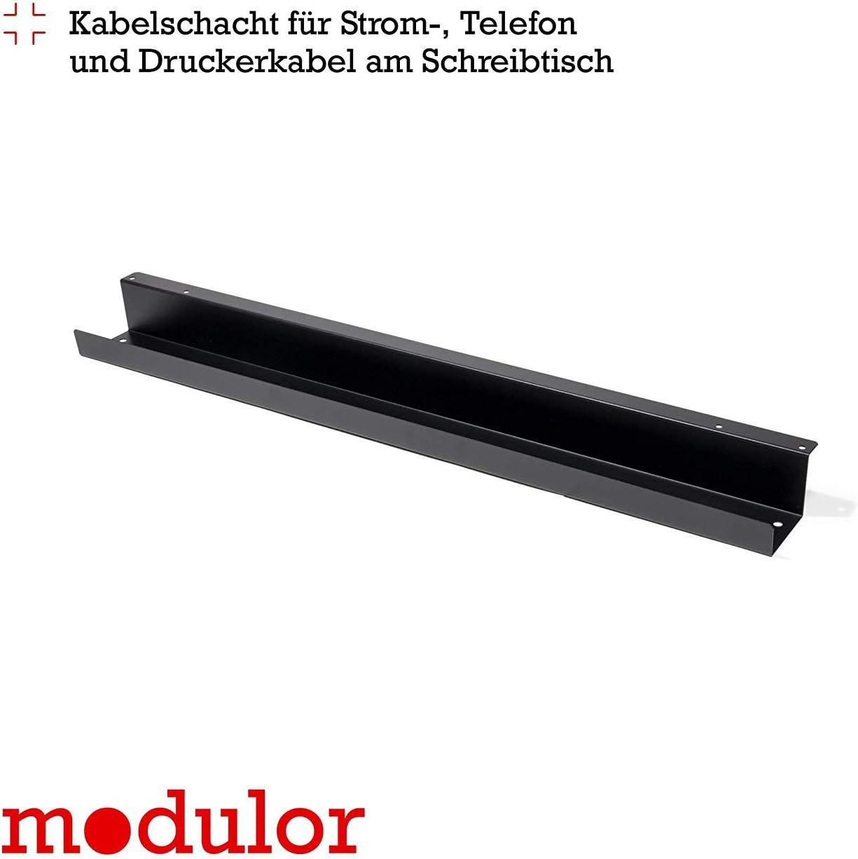 Kabelf/ührung f/ür den Schreibtisch Modulor Kabelkanal Kabelhalterung inklusive Schrauben anthrazit 7 x 9 x 102,5 cm