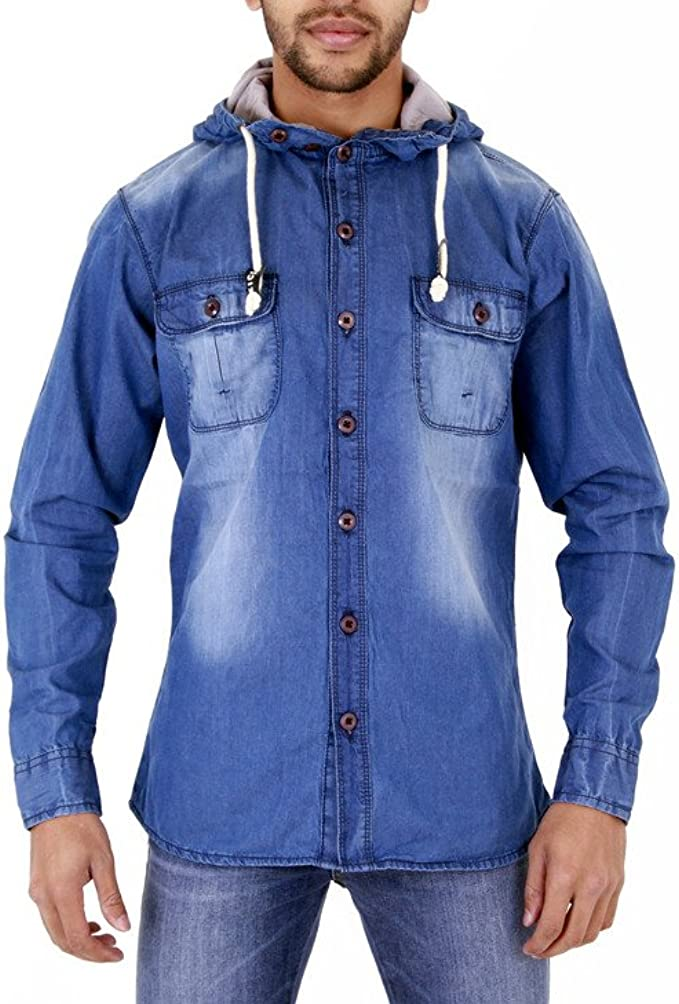 Eslove Mens Denim Shirt Long-Sleeved Shirt Mens Pockets Split Leather Shirt Denim Shirt Men