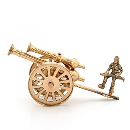 Buy Little India Brass Rajasthani Canon Handicraft Home Decor Brown