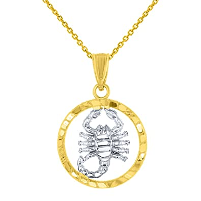 Amazon textured 14k yellow gold round scorpion charm scorpio amazon textured 14k yellow gold round scorpion charm scorpio zodiac pendant necklace 16 jewelry aloadofball Images