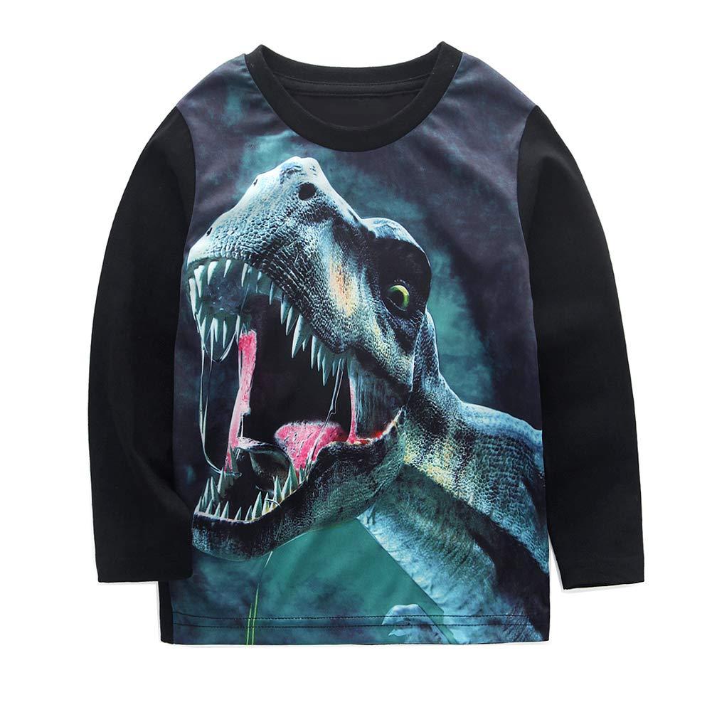 e52db4130 Amazon.com: Bleubell Teddlor Boys T-Rex Long Sleeve Dinosaur T Shirt:  Clothing