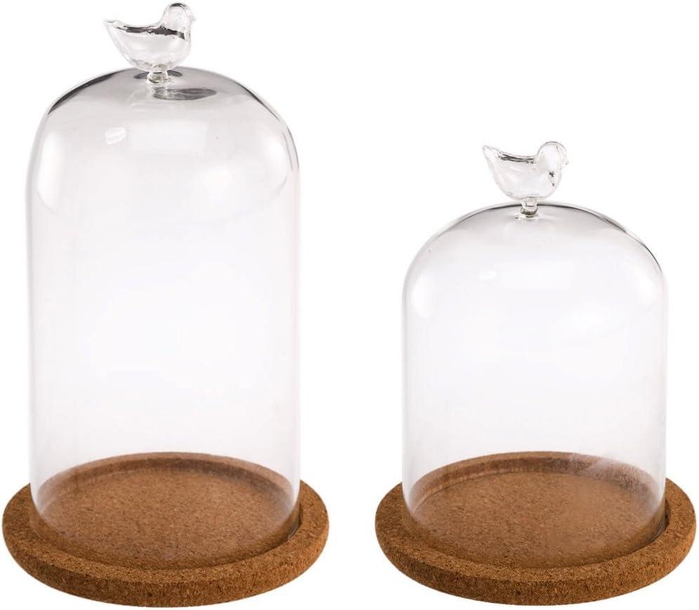 Glashaube Glas Haube Glaskuppel Glassturz mit Holz Korken DIY Dekoration