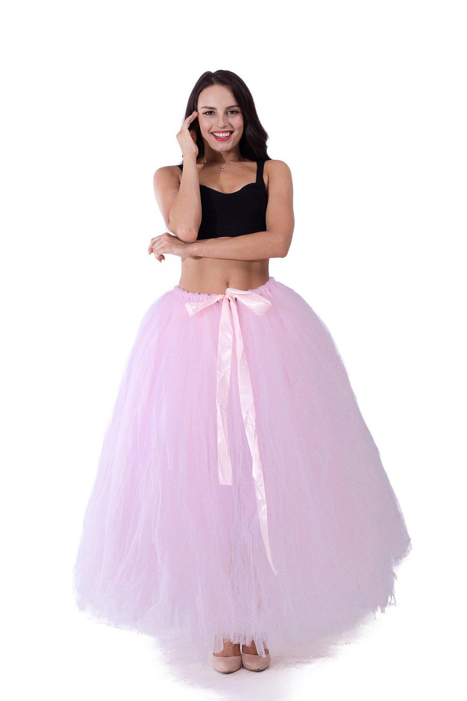 kephy Handmade Adult Puffy Tutu Tulle Skirt Women 100 cm Long Floor Length Wedding Party Skirts
