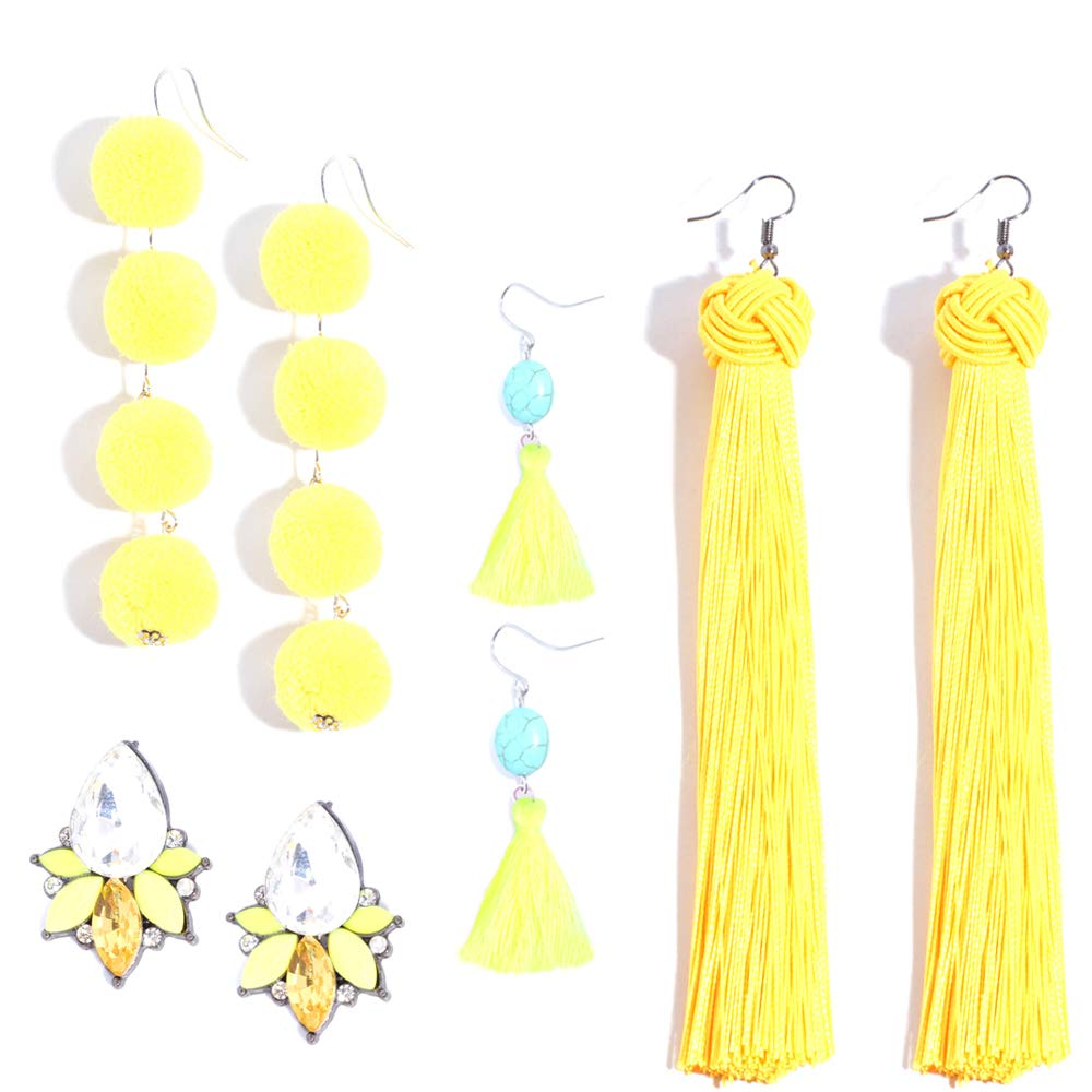 Othink Yellow Tassel Drop Earrings for Women