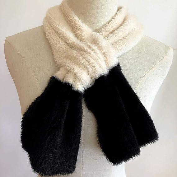b8404e552cb DYY Bufanda de Piel para Mujer Moda Salvaje Otoño e Invierno Bufanda de visón  Estilo Cruzada Bufanda (Color   A)  Amazon.es  Hogar