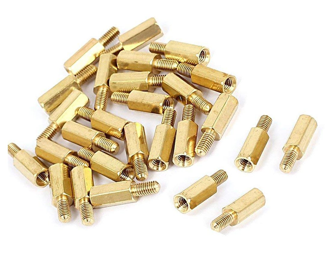 20 Pcs HONJIE M3x40 Female Thread Hexagonal Hex Brass Pillar Standoff Spacer