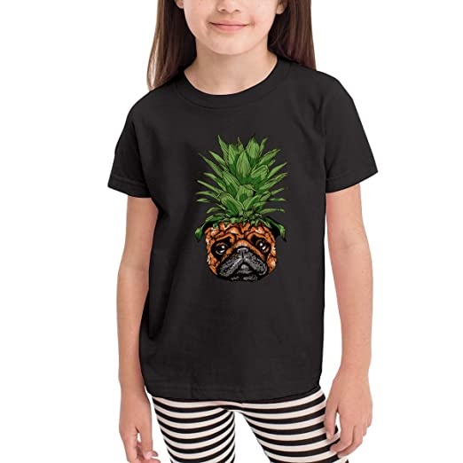 78f209f6 Amazon.com: Kids Shirts Pineapple Pug Puppy Dog Shirt Casual Short Sleeve  Cotton Summer Clothes Sport T Shirt Tollder Boys Girls: Clothing