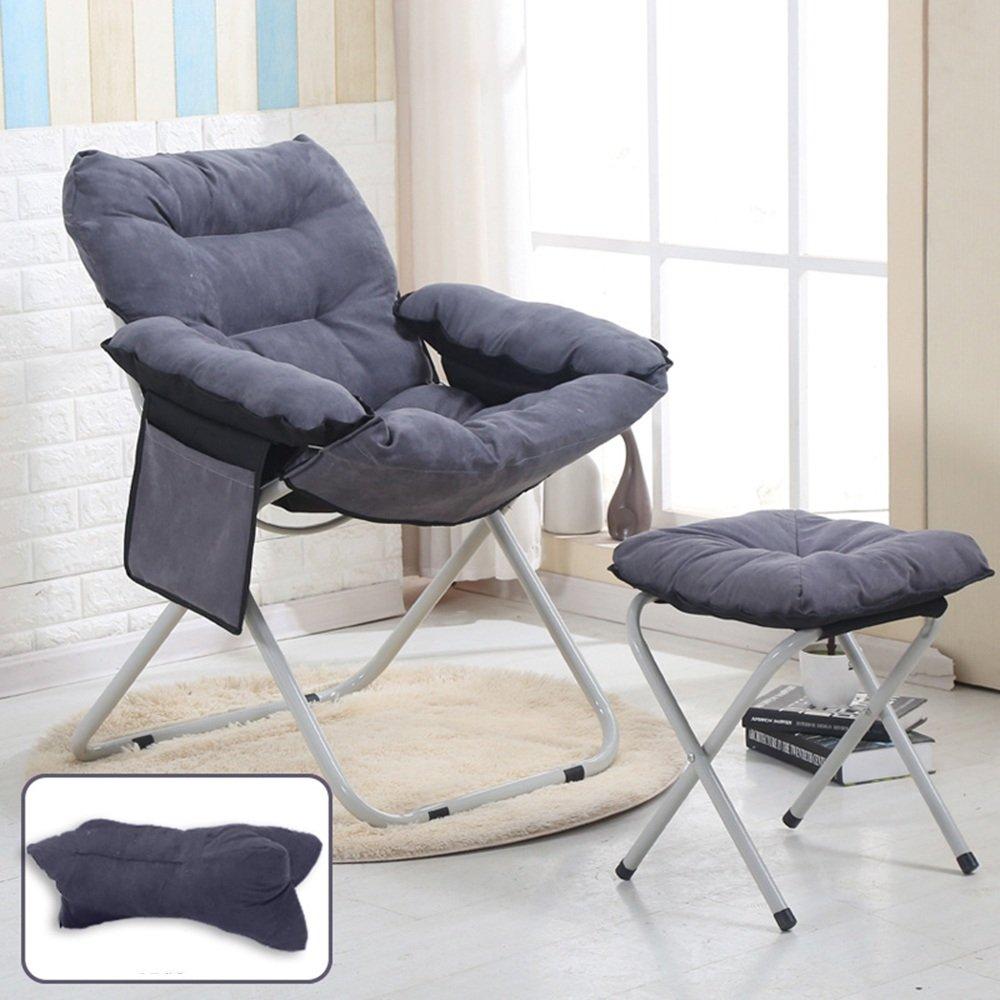 QFFL アダルト快適なホーム折りたたみチェア/カジュアルシエスタ背もたれ椅子/クリエイティブ家庭用コンピュータチェア/バルコニー快適なリクライニング アウトドアスツール (色 : Gray, サイズ さいず : C) B07F82ZZ58 C|Gray Gray C