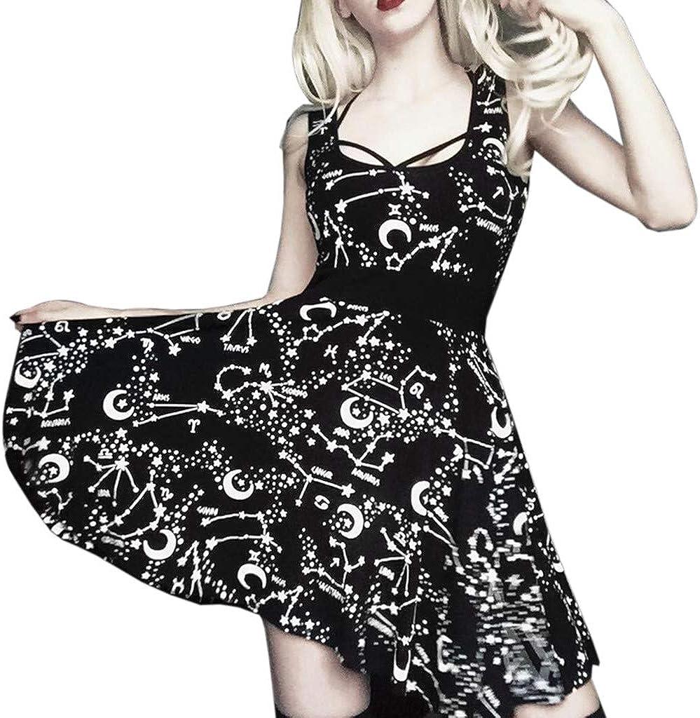 Twgone Gothic Dresses für Women Vintage Street Style Punk Black Retro Moon Sleeveless Dress(Medium,Black)