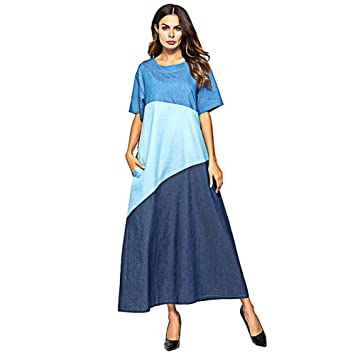 fadb333df0 Women s Arabian Denim Skirt Muslim Ethnic Grouploose Dress Half Sleeve  Autumn Fashion Stitching Denim Long Dress