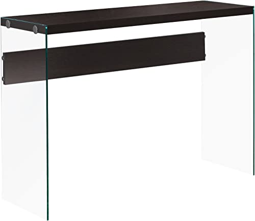 Monarch specialties , Console Sofa Table, Tempered Glass, Cappuccino, 44 L