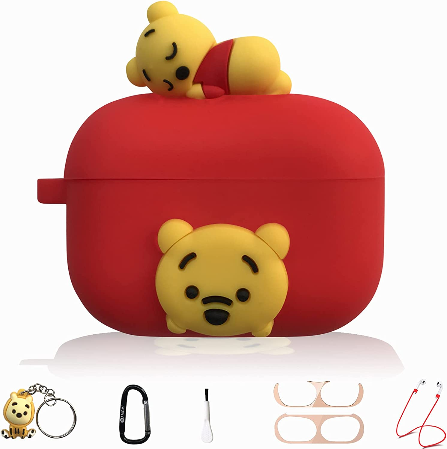 Red Winnie the Pooh Cartoon Silicone Case for Apple Airpod Pro, 7 in 1 Accessories Set Protective Cover, Silicone Case/Keychain/Carabiner/Metal dust Sticker/Cleaning Brush/Anti-Lost Rope,The Best Gift