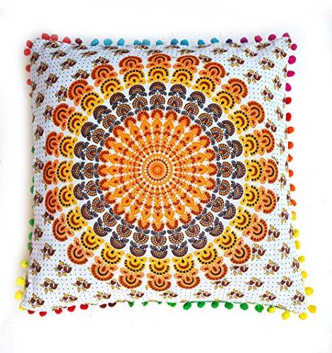 Rastogi Handicrafts Ingenious Multi Color Pom Pom cojín Fundas de Almohada sofá Cubierta de Sola Mano Bolck diseño de...