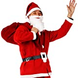 KMJ サンタクロース 衣装 サンタ コスプレ クリスマス コスチューム メンズ レディース 豪華 5点セット 7点セット 【 帽子 ひげ 袋 上着 ベルト ズボン 靴カバー 】