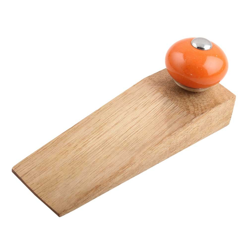 IndianShelf Set of 10 Handmade Orange Round Wooden Ceramic Door Stoppers Premium Stop Wedge Work On All Floors Non Stretching Strong Grip