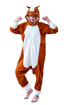 12983b3b11ff Comfy New Adult Animal Onesies Horse Cosplay Costume Jumpsuit One Piece Halloween  Pajamas for Adults and