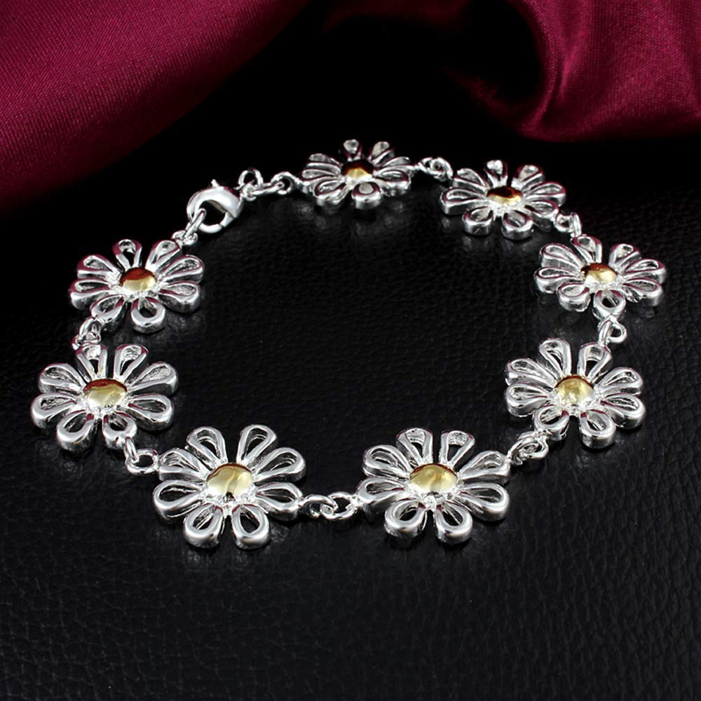 Bracelets Onefeart Sterling Silver Bracelet for Women Girls Sweet Ladies Design Chrysanthemum Flowers Shape 20x1.9CM Silver