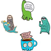 93167ab33 Cute Enamel Lapel Pins Sets Cartoon Animal Plant Fruits Foods Brooches Pin  Badges for Clothing Bags