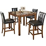 Amazon Com 9pcs Marble Top Counter Height Dining Table
