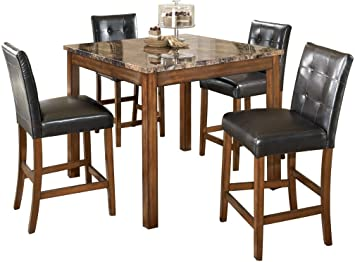 Ashley Furniture Signature Design Theo Dining Room Table And Barstools Counter Height Set Of 5 Warm Brown And Black