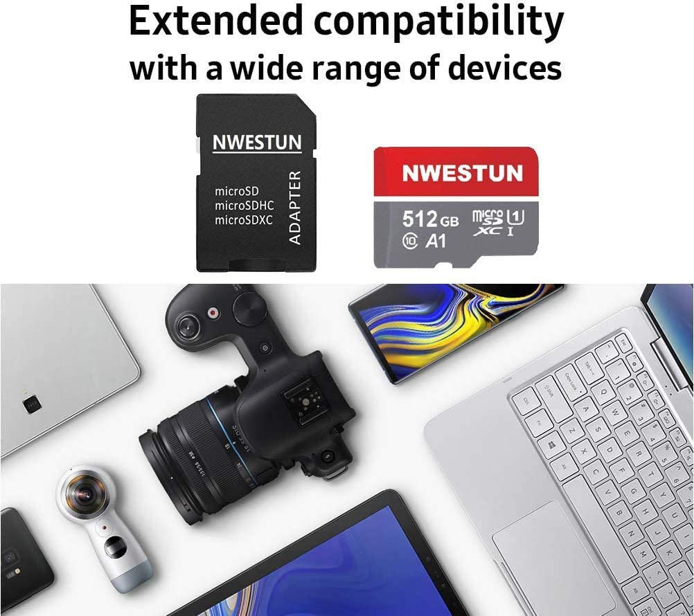 100MB//s Micro SDXC UHS-I Memory Card U1 1TB Micro SD Card Memory Card with Adapter C10 A1 Full HD Available