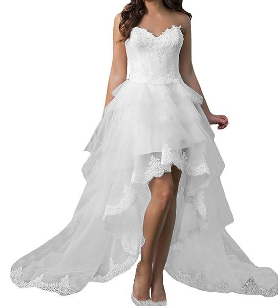 O.D.W Frauen Appliques Spitze Hochzeitskleider Kurze Vintage ...
