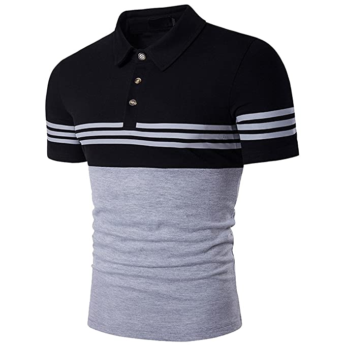 2018 New Arrival Summer Short-sleeved Polo Shirts Men Cotton Contrast Color Striped Polo Turn-down Collar Smart Causal Polo Polo Back To Search Resultsmen's Clothing