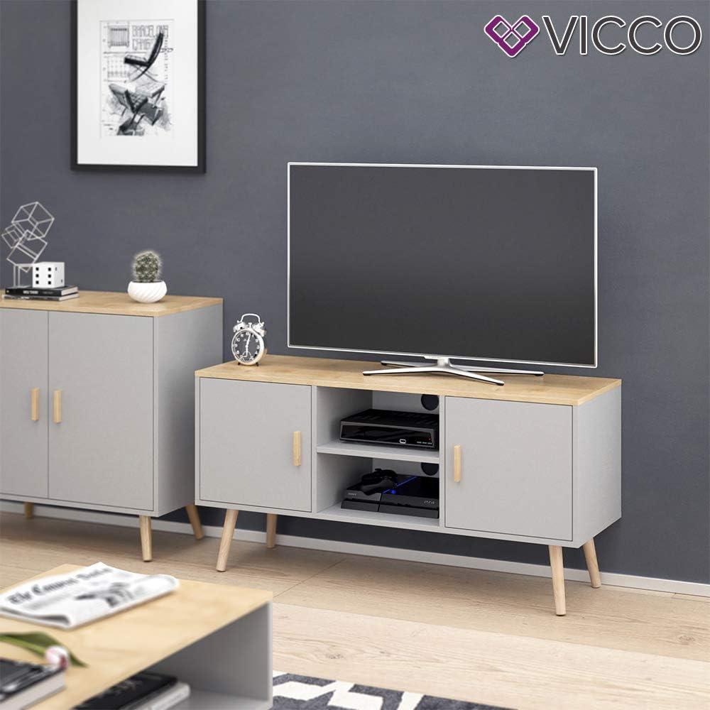 Vicco Freya - Mueble bajo para televisor (2 Puertas, 2 Compartimentos), Color Gris: Amazon.es: Juguetes y juegos