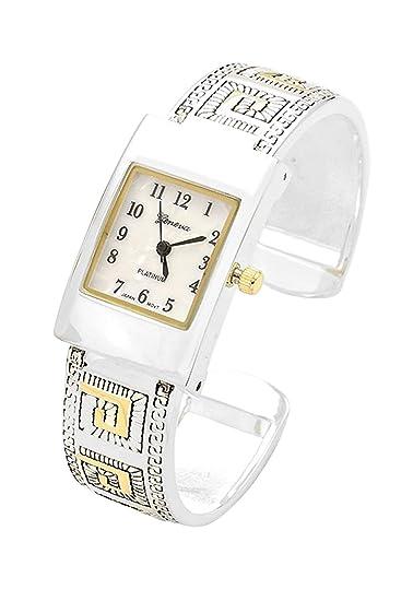 Rosemarie colecciones de la mujer cuadrados estilo cara dos tono Metal Cuff reloj venta