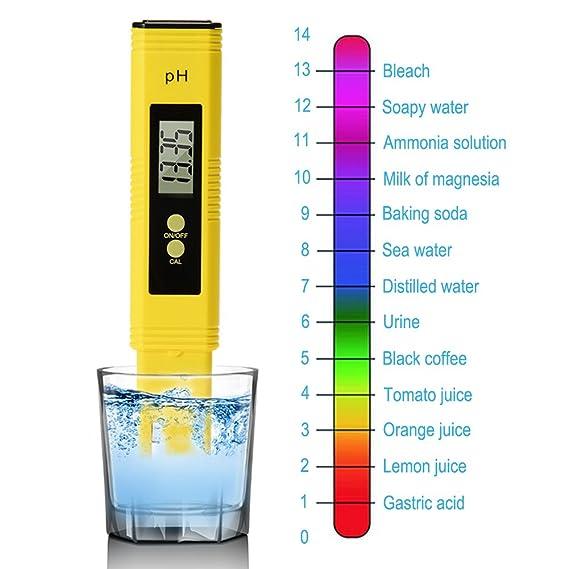 Medidor de pH digital con resolución 0.01, gran pantalla LCD, comprobador de calidad del agua con función de calibración automática y rango de medición de 0 ...