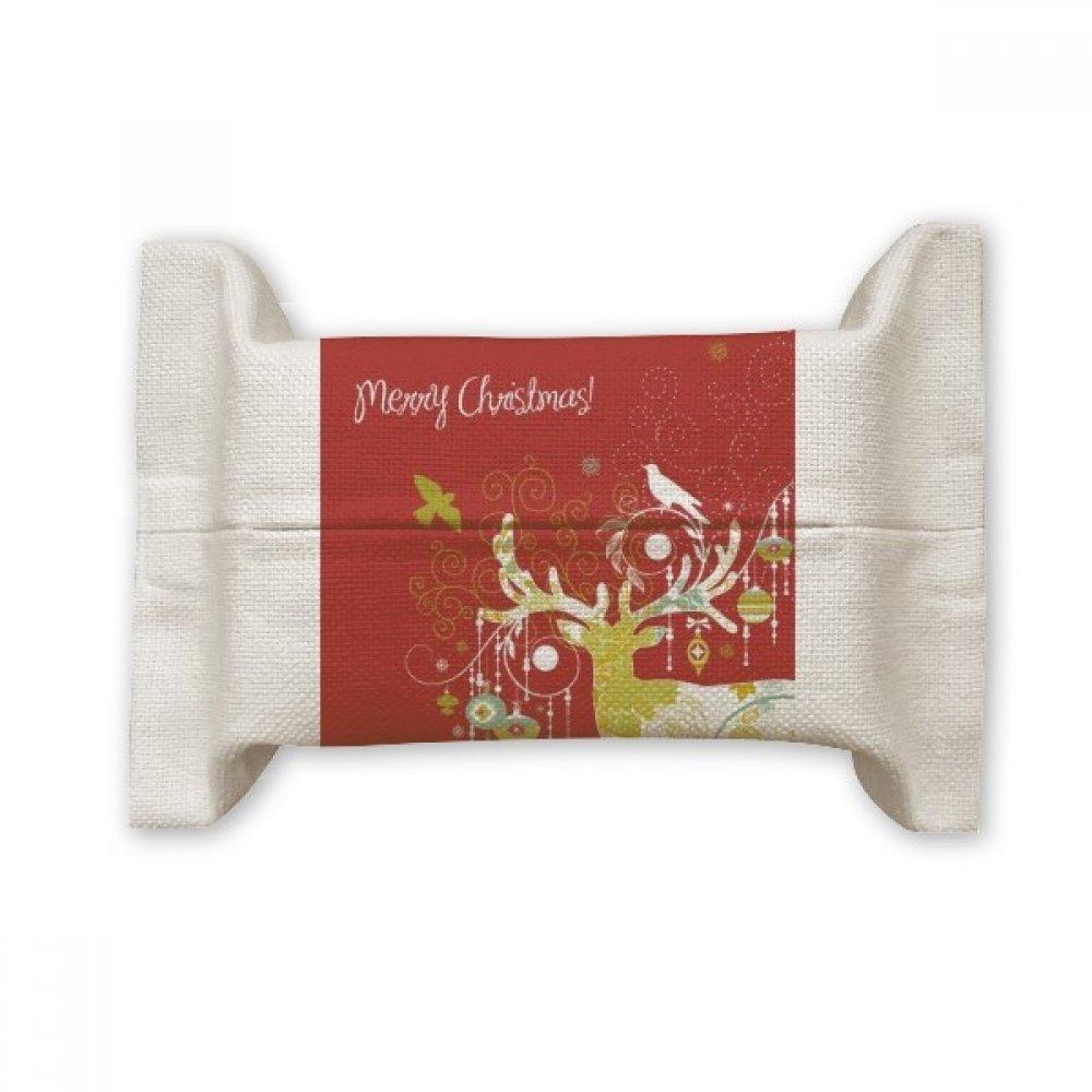 DIYthinker メリークリスマス 鹿 コットンリネン ティッシュペーパーカバーホルダー ストレージコンテナ ギフト   B07CPP2MVZ