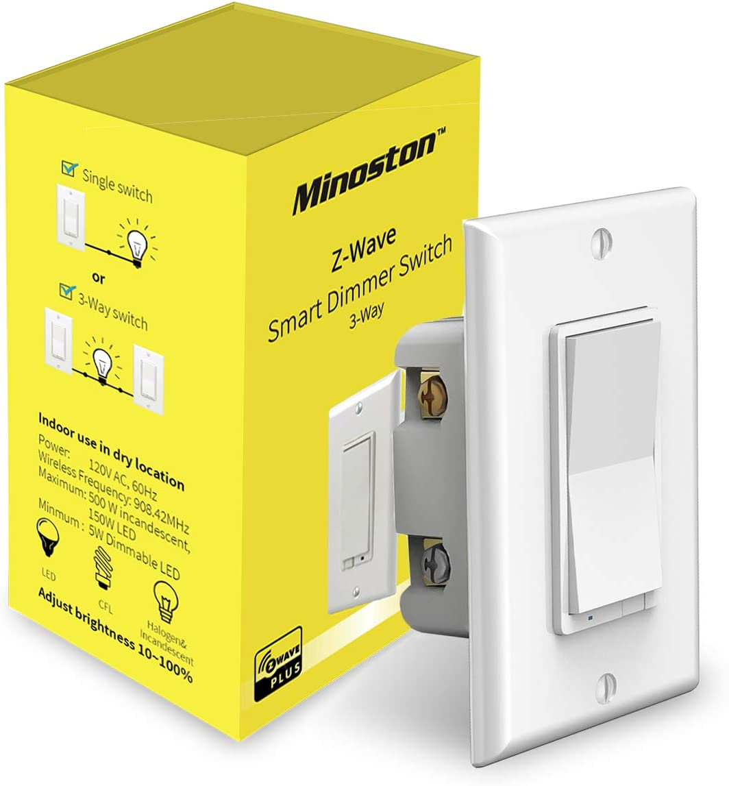 Z Wave Dimmer Switch in Wall Light Switch, Neutral Required, Support 40 Way  Installation Works with Smartthings, Wink, Signal Repeater, Z Wave Hub ...