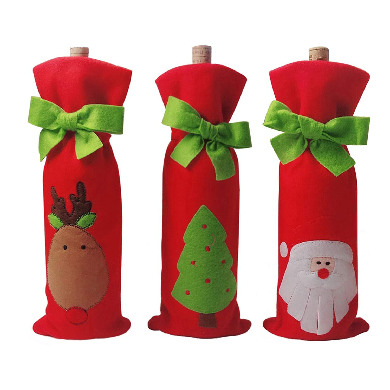 3 pcs vino bolsas de Navidad, Papá Noel, reno y árbol de Navidad para botella de vino fundas para decoración de la mesa de Navidad con un libre reno bolsa ...