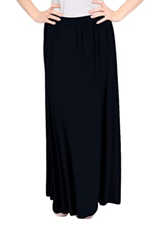 af319cc00c Kosher Casual Women's Modest Maxi Long Gathered Elastic Waist Skirt with  Pockets Extra Small Black