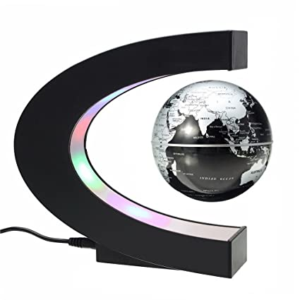 Amazon floating globe with led lights c shape magnetic floating globe with led lights c shape magnetic levitation rotating world map earth planet ball display gumiabroncs Image collections