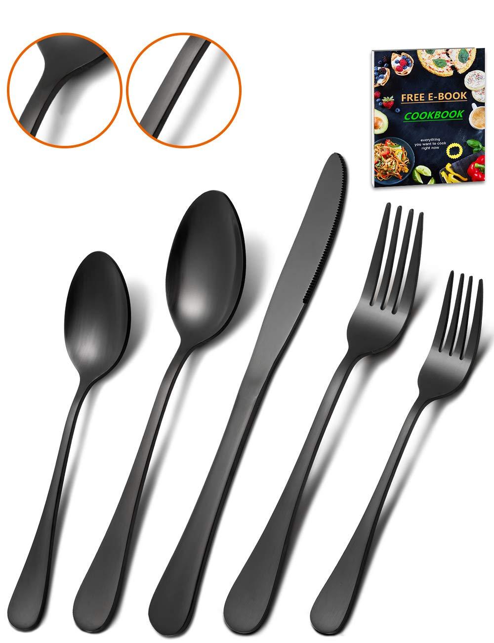 Matte Black Silverware Set - HEAVY DUTY 45 Pieces Stainless Steel Flatware Utensils Cutlery Tableware Steak Knife Fork and Spoon Service for 8 by Acnusik