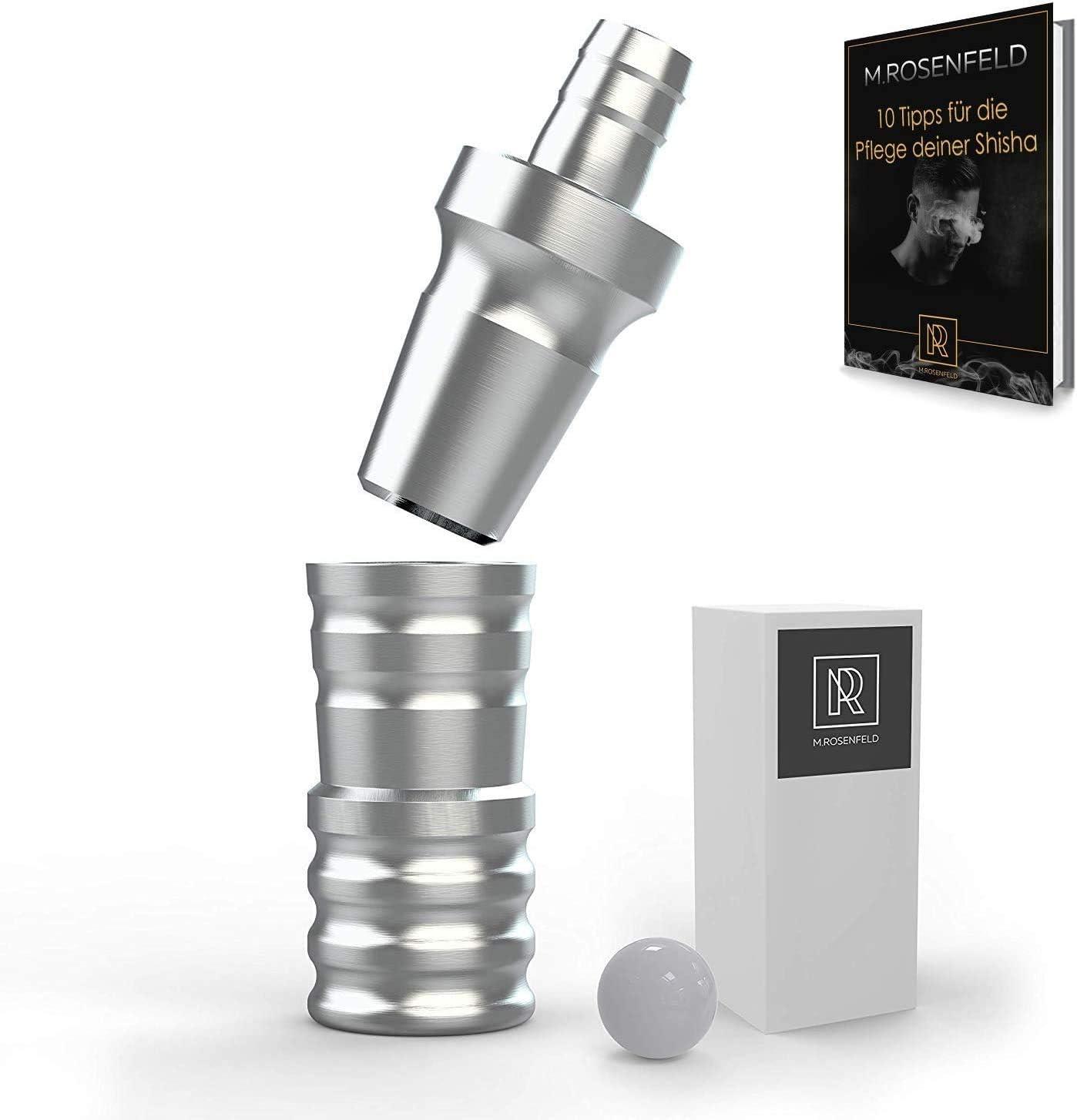 Adaptador para tubo de cachimba de aluminio 18/8, juego de 2 piezas con rosca M16x1, conector de manguera para Dilaw Shicha, Amy Deluxe Shisha, César, Kaya Shisha + libro de shisha