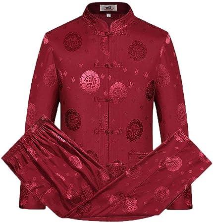 SCDXJ Trajes De Ropa Tradicional China Hanfu Algodón Camisa De Manga Larga Abrigo Hombre Tops Y Pantalones,Red-XL: Amazon.es: Hogar