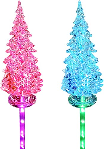 Idefair Solar Garden Lights 2 Pack, Outdoor Multi-Color Changing LED Stake Lights Lily Flower for Garden, Patio, Yard and Decoration Christmas Tree-White