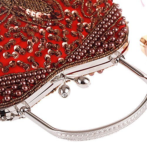 Clutch Top Beaded Evening Formal handle Vintage Gold Prom Butterfly for Women Kissing Bag 2017 Metal Lock EH8qFYUqwx