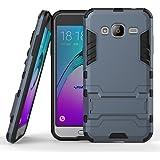 MOONCASE Galaxy J3 Custodia Dual Layer Case ibrida Rigida Morbido Armatura resistente agli urti con Supporto e asportabile di protezione per Samsung Galaxy J3 Blu Nero
