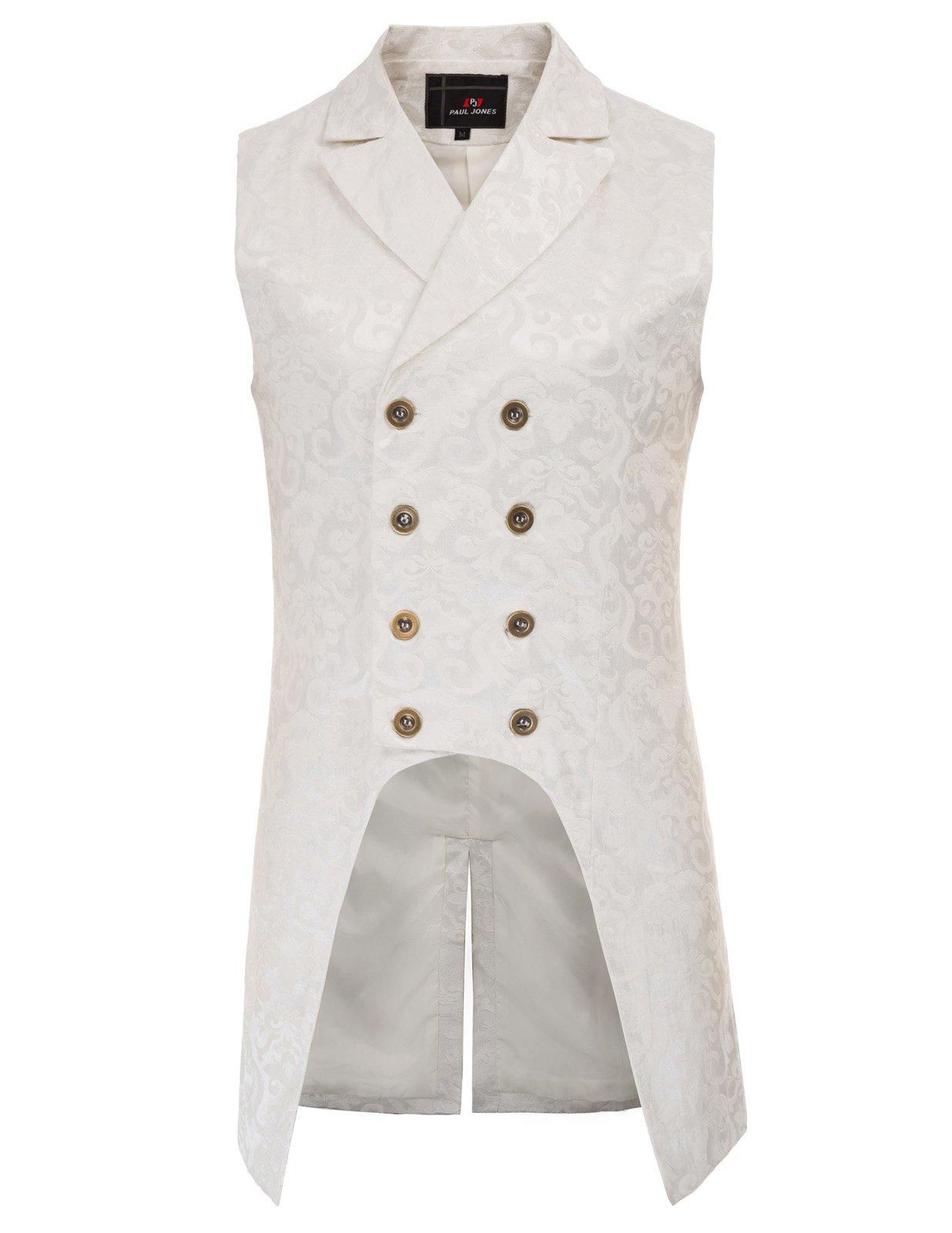 Paul Jones Mens Gothic Steampunk Double Breasted Vest Brocade Waistcoat PJ0081 4