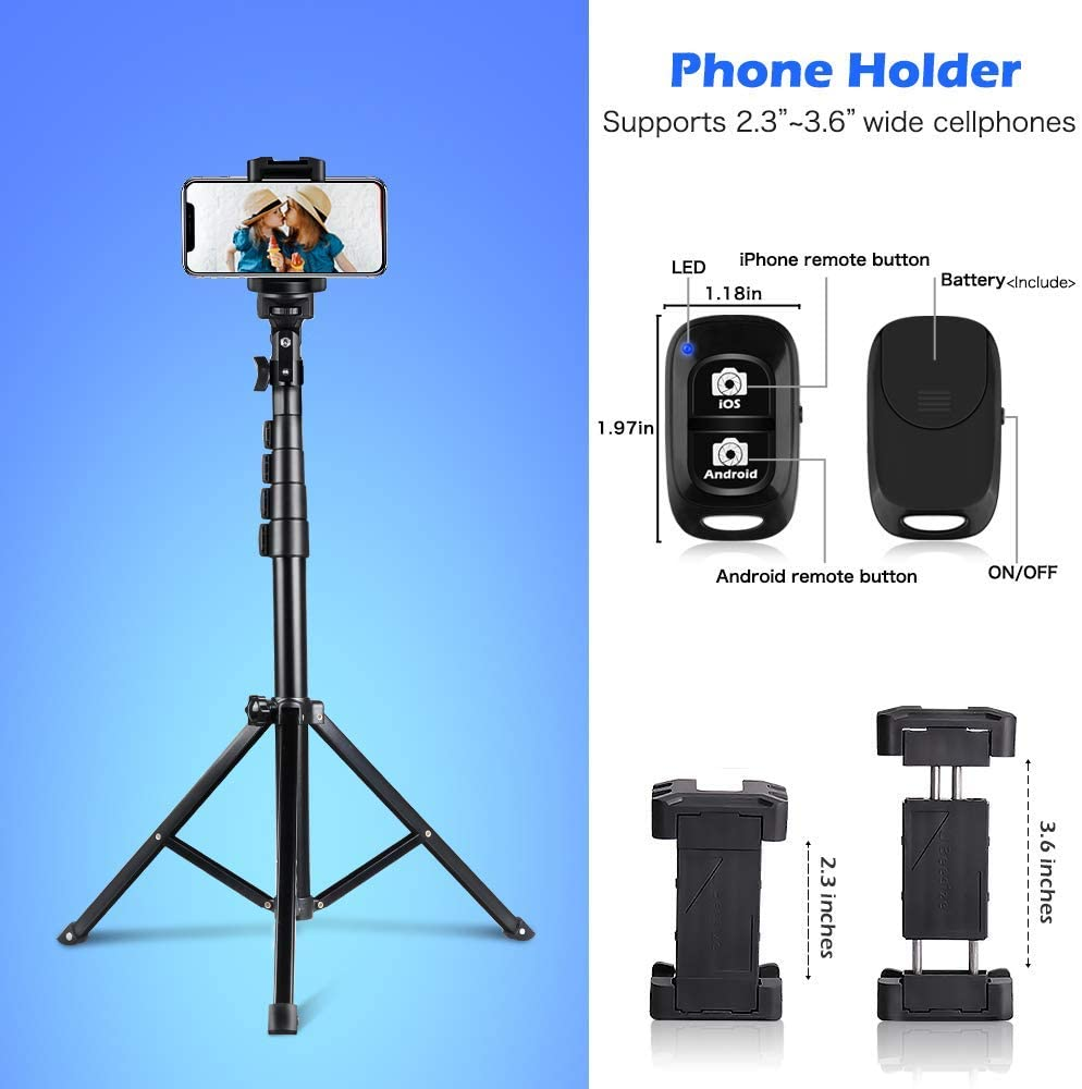 """UBeesize 51/"""" Selfie Stick Tripod Compatible with iPhone/& Android Phone Portable Adjustable Extendable Phone Tripod Stand with Phone Mount /& Wireless Remote"""